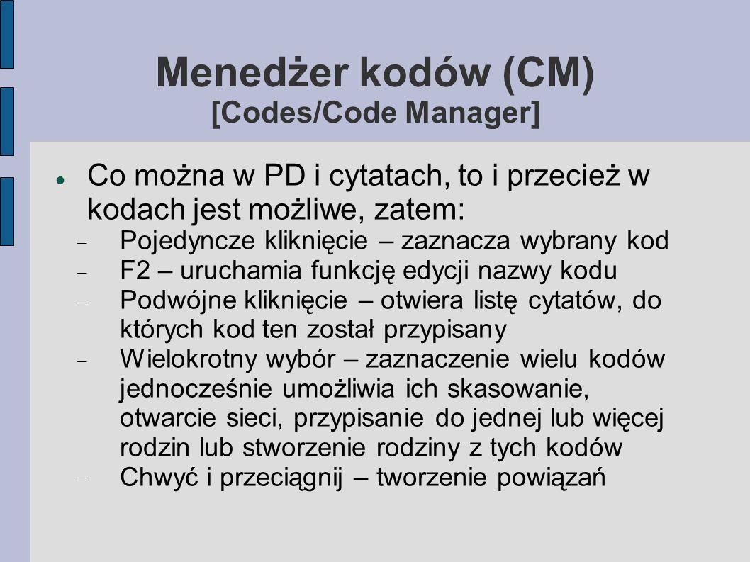 Menedżer kodów (CM) [Codes/Code Manager]